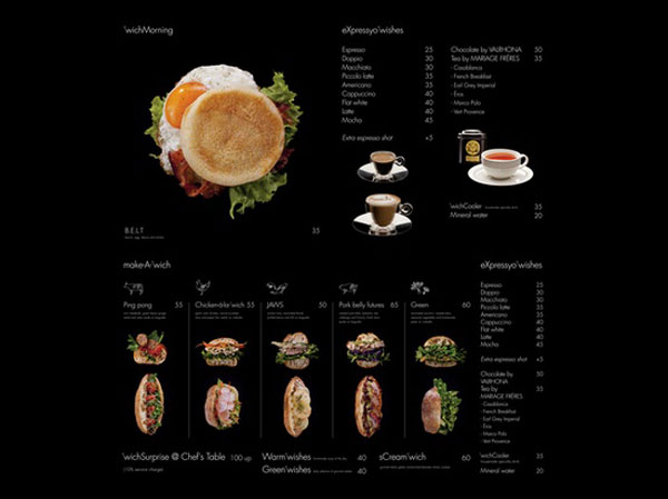 restaurant menu 'wich by Ken Lo