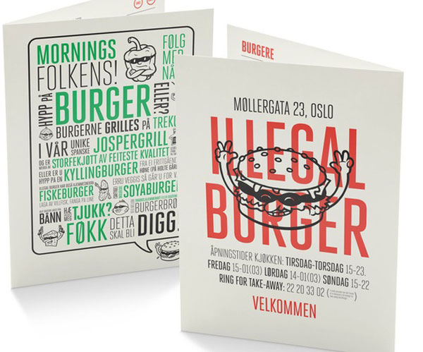 Restaurant Menu illegal Burguer design