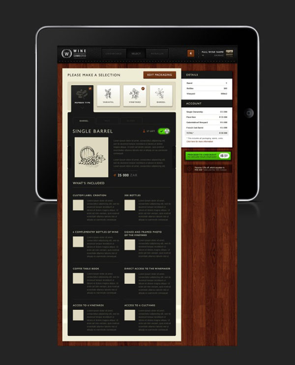 Wine  Connected by Emile Rohlandt, menu restaurant iPad creative design