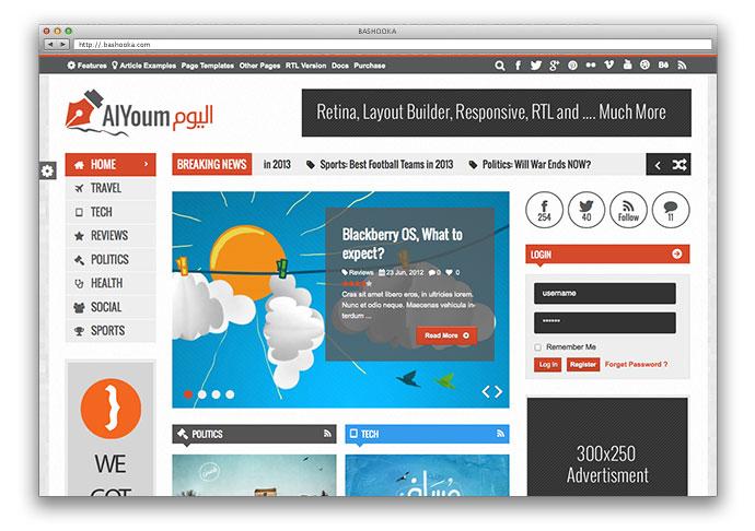 AlYoum | Retina Magazine & Blog WordPress Theme