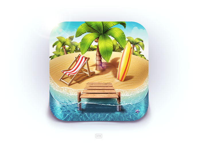 Paradise Island iOS Icon by Denis Shoomov