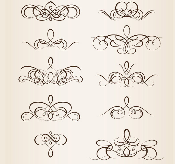 40 Swirly Curly & Floral-Based Vector Design Elements