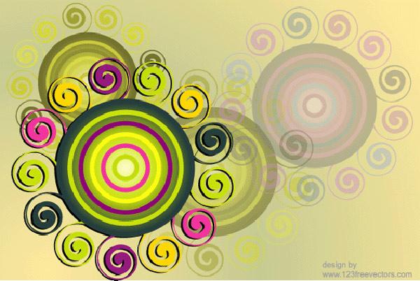 Swirl & Circle Background Free Vector Graphics