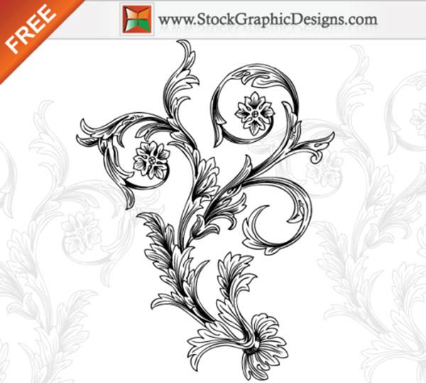 Hand Drawn Decorative Floral Vector