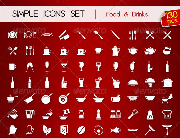 130 Simple Icons FOOD & DRINKS