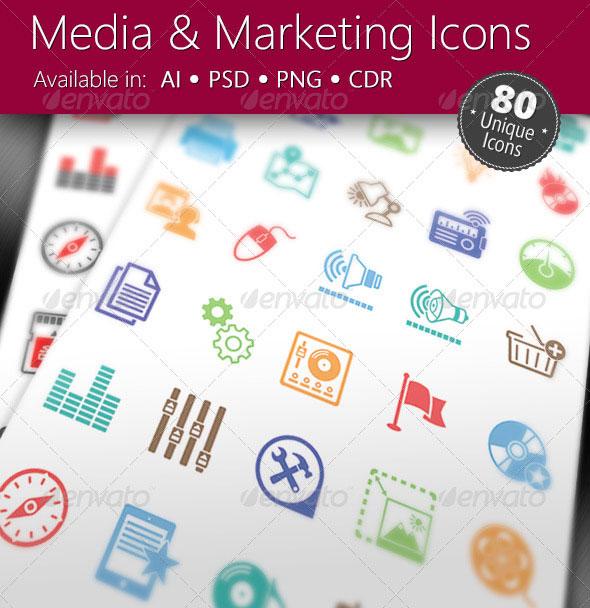 Media & Marketing Icons Set