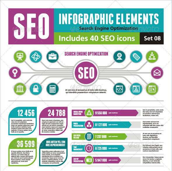 SEO Infographic Elements - Set 08