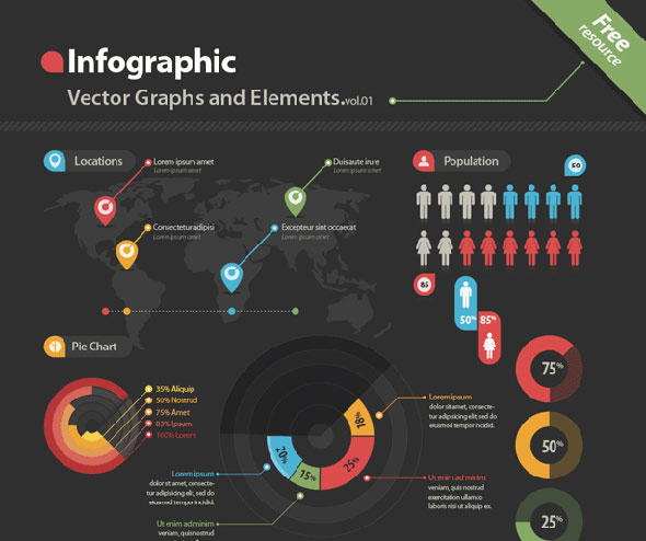 Infographic Graphs & Elements Vector