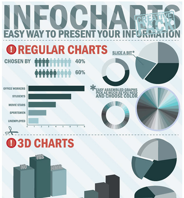 Infographic charts, 3D charts, buttons, labels, graphical element vectors