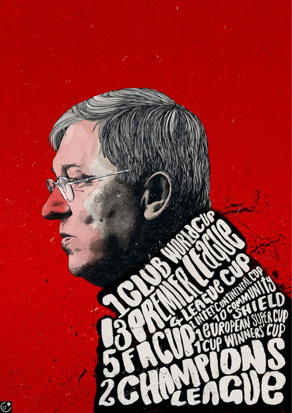 Sir Alex Ferguson 38 Trophies by Peter Strain