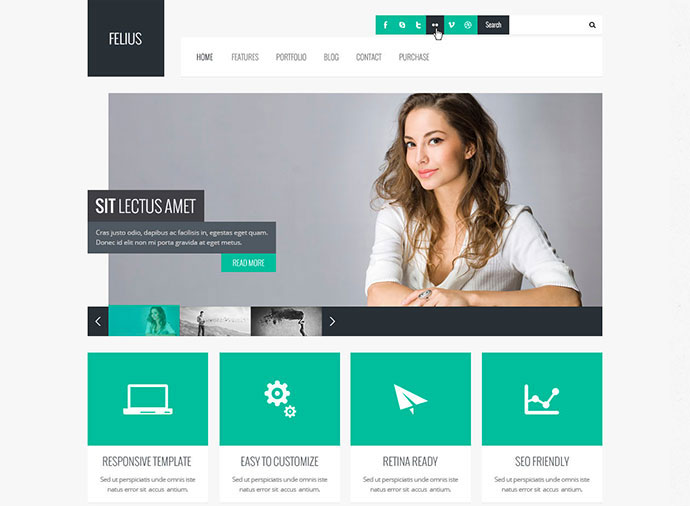 90 best business website templates 2013 web graphic design felius is a cross browser compatible retina ready responsive html5css3 template with touch support that features a clean design that is multipurpose wajeb Choice Image