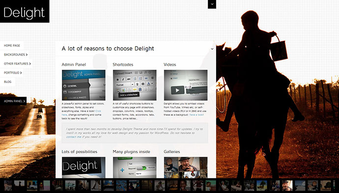 Delight Fullscreen WordPress Portfolio Theme