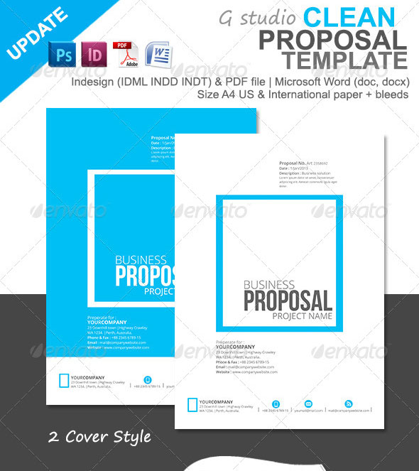 Clean Proposal Template  Graphic Design Proposal Example