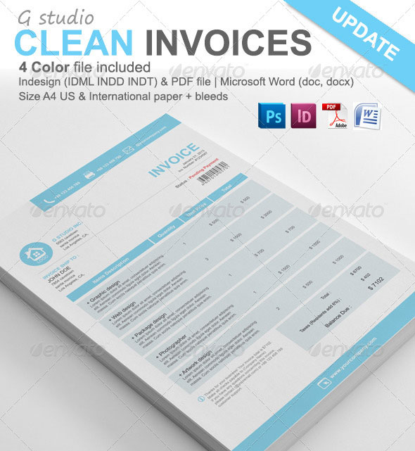 Gstudio Clean Invoices Template  Beautiful Invoices