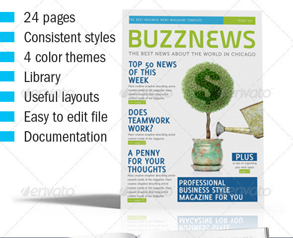 24 layouts Business News Magazine, 4 color themes