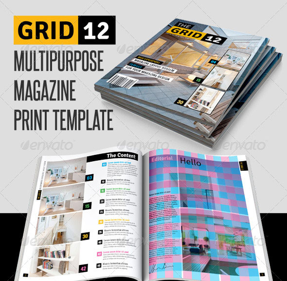 Grid 12 Multipurpose Magazine Print Template