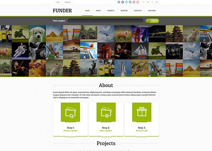 FUNDER - Bootstrap Crowdfunding Site (Single Page)