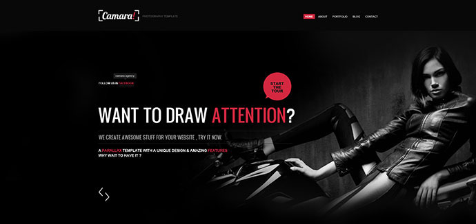 Camara - Responsive Parallax Single Page Template