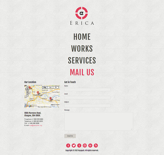 Erica - Jquery Single Page Website Template