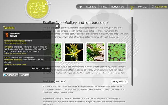 Scrollcase: Single Page App Showcase, 2D Scrolling