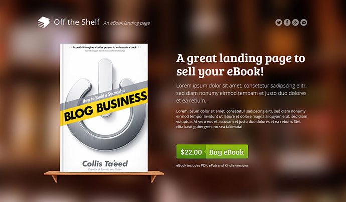 Book Landing Page Template E-book Landing Page Off