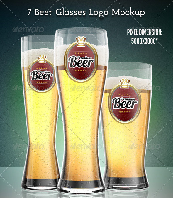 7 Beer Glasses Logo Mock-Up