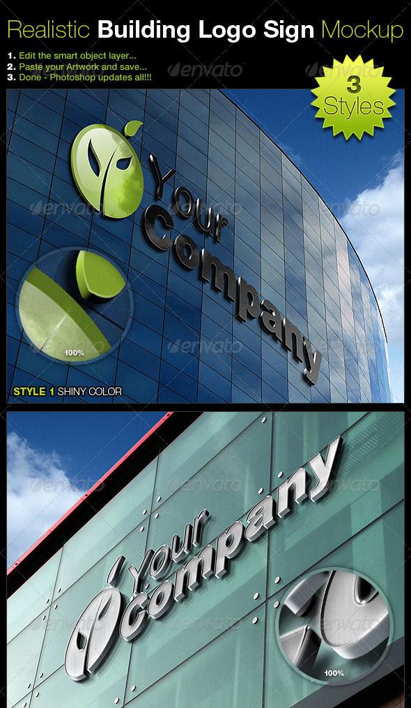 Realistic Building Logo Sign Mock-Up