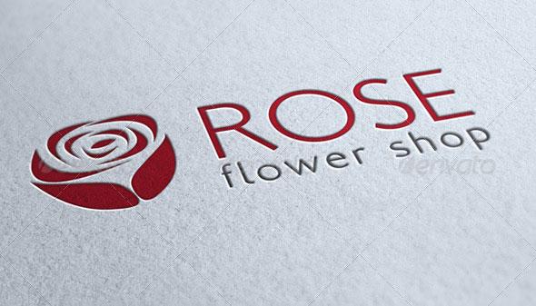 Rose Flower Shop Logo