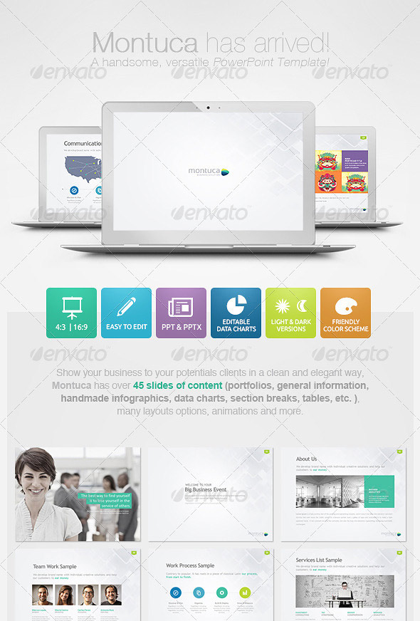 25 creatively designed powerpoint templates | web & graphic design, Montuca Powerpoint Presentation Template Download, Presentation templates