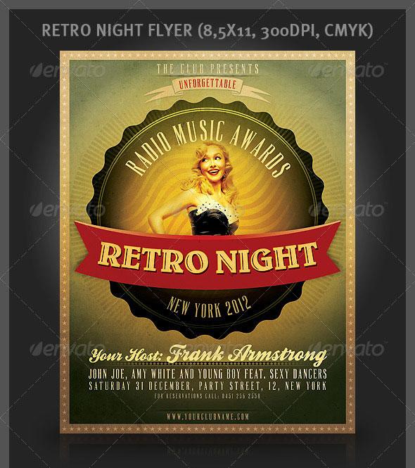 25 retro vintage psd flyer templates web graphic design bashooka retro night flyer maxwellsz