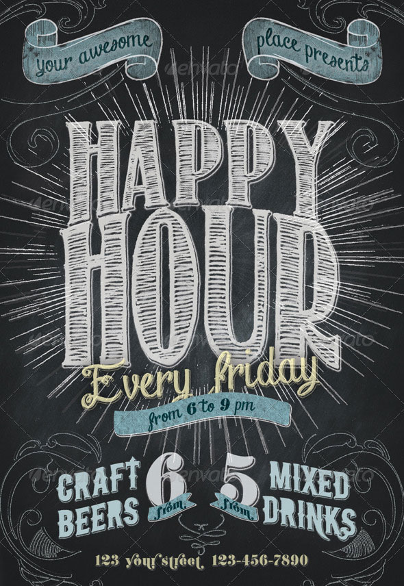 Happy Hour Chalkboard Indie Flyer