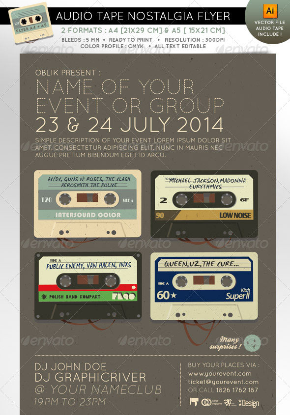 Audio tape nostalgia event flyer A4 A5
