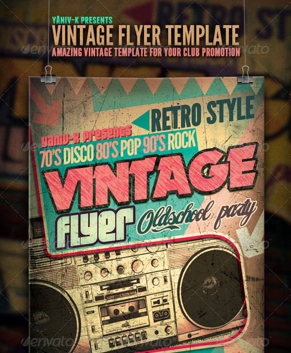 Retro  Vintage Psd Flyer Templates  Web  Graphic Design