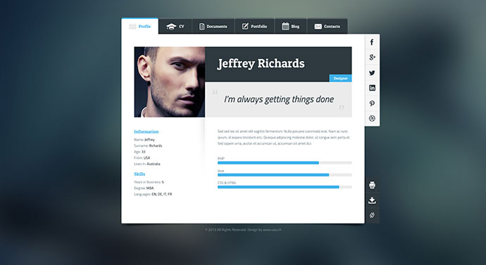 Vcard A Free Business Card Theme For WordPress