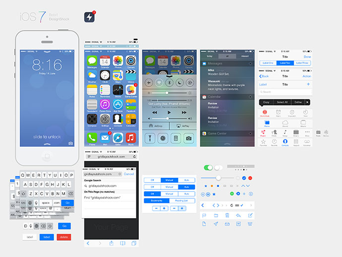 15 free psd templates for your next ios 7 app web graphic design