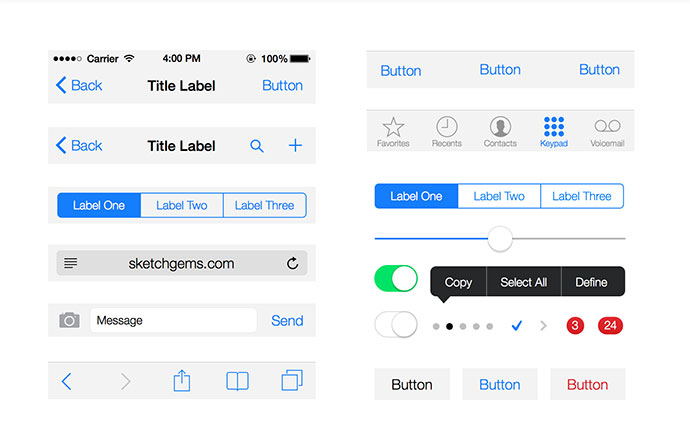Free Gems – iOS 7 UI Kit Lite for Sketch