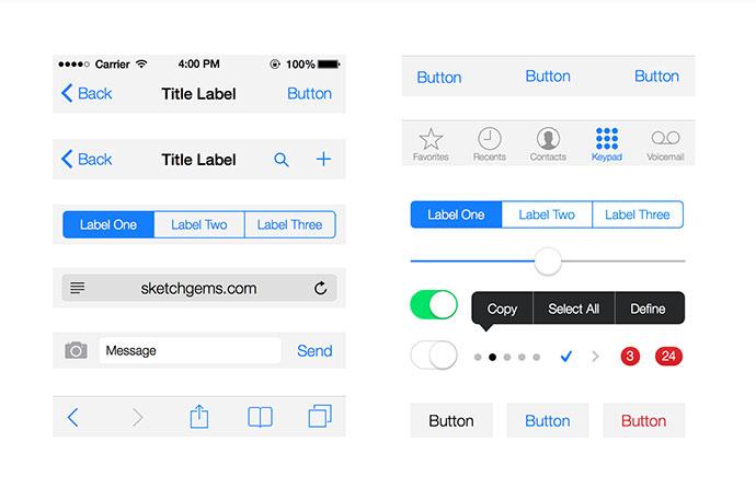 Free Gems – iOS 7 UI Kit Lite for Sketch