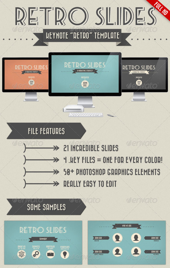 Retro Slides Keynote Template Full Hd