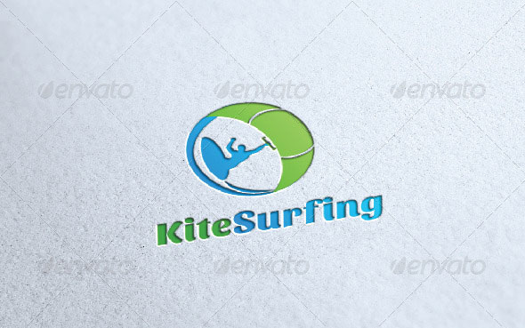 Kite Surfing Logo Template