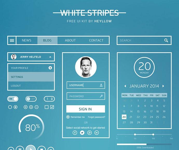 white_stripes_ui_kit