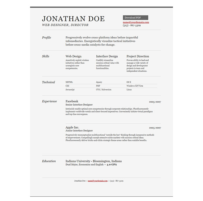 28 free cv resume templates html psd indesign web graphic sample resume template jonathan doe resume 8 yelopaper Gallery