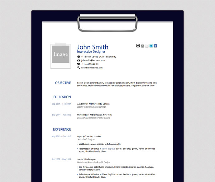 Creative PSD Resume Template Vol 1