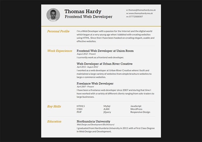 28 free cv resume templates html psd indesign web graphic thomas hardy curriculum vitae 6 yelopaper Gallery