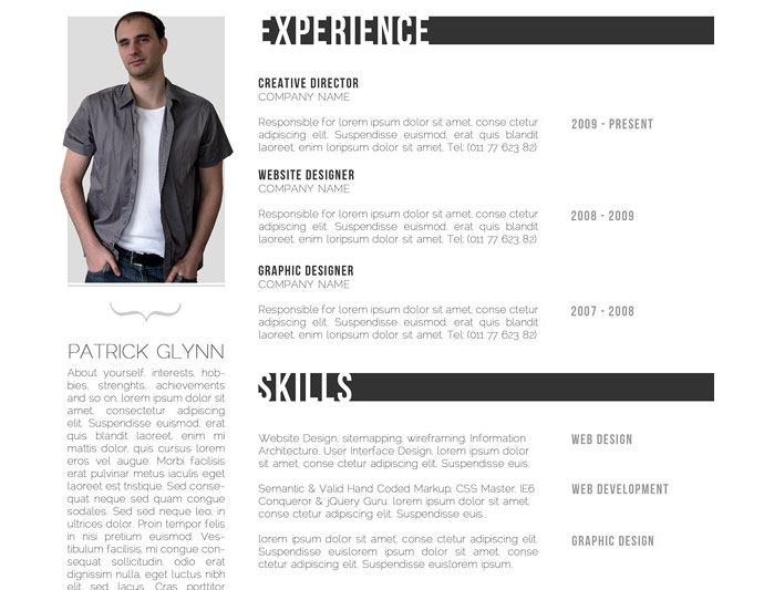 one page resume template html5 creative free web pattern