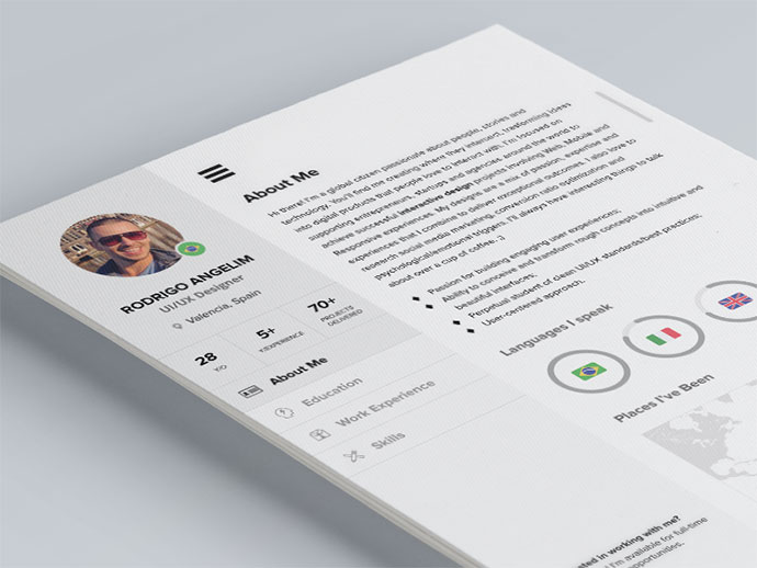 28 free cv resume templates   html psd  u0026 indesign
