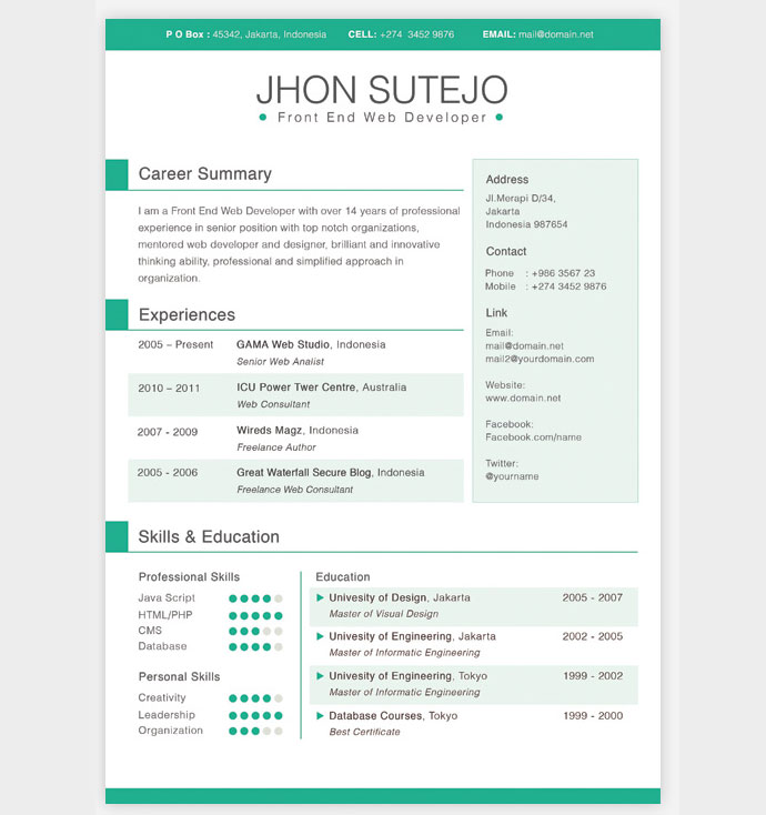 Free CV Resume Templates HTML PSD InDesign Web Graphic - One page resume template free