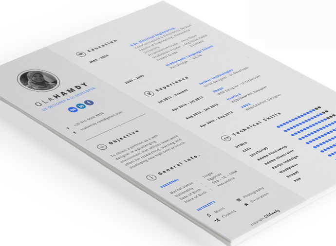 Free Clean Interactive InDesign Resume