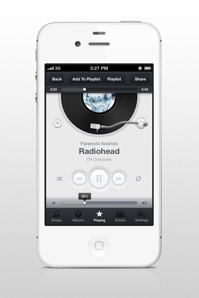 iphone music apps 41 app ui design concepts for ios web amp graphic 3087