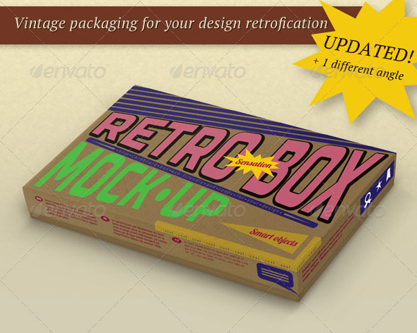 Retro Package Box Mock-Up