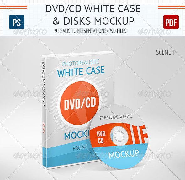 Realistic DVD/CD Mockup White Case